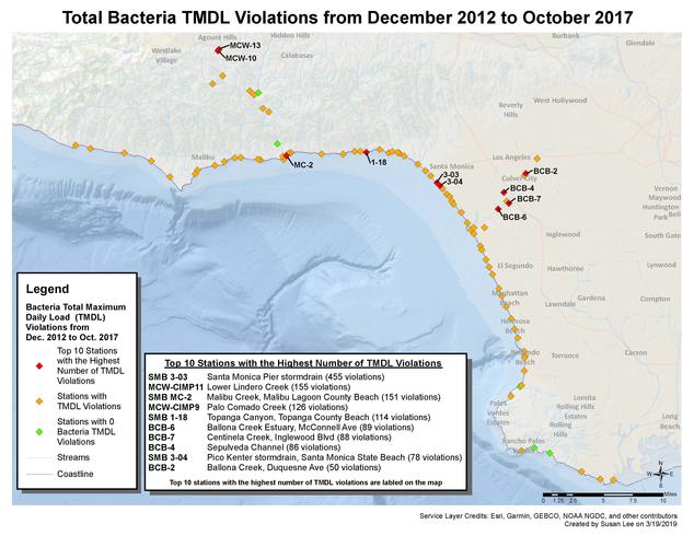 Total Bacteria TMDL Violations from December 2012 to October 2017